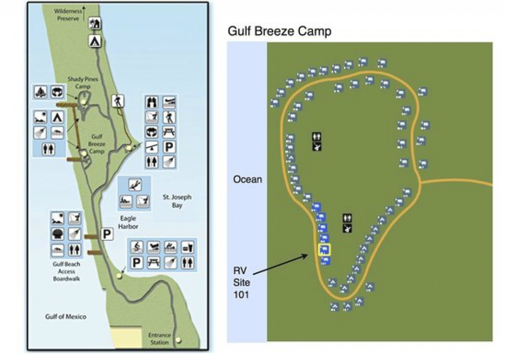 Map Of Campgrounds. Recommend Gulf Breeze Camp - Picture Of St with Florida State Parks Camping Map