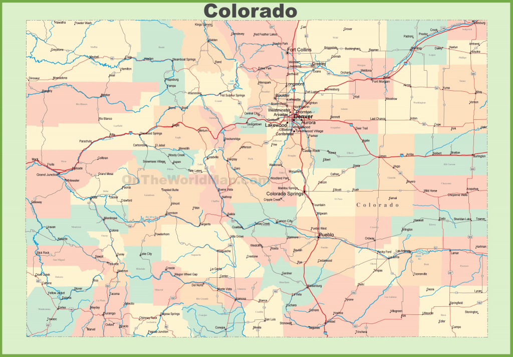 Map Of Colorado With Cities And Towns for Colorado State Map With Counties And Cities