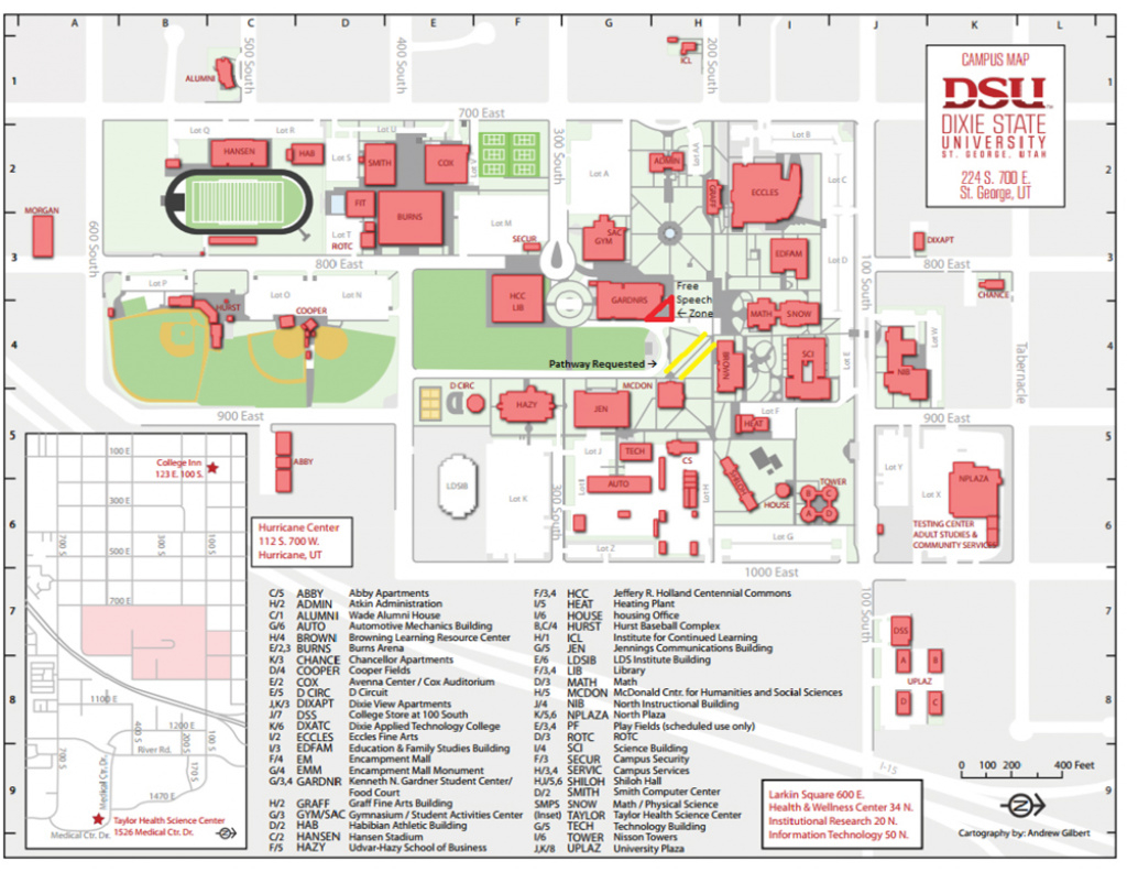 Map Of Dixie State University With Free Speech Zone - Fire throughout Dixie State University Campus Map
