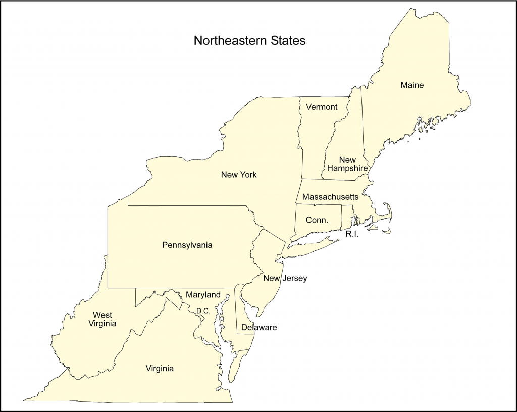 Map Of Eastern Us Printable North East States Usa New Free Northeast throughout Northeast States And Capitals Map