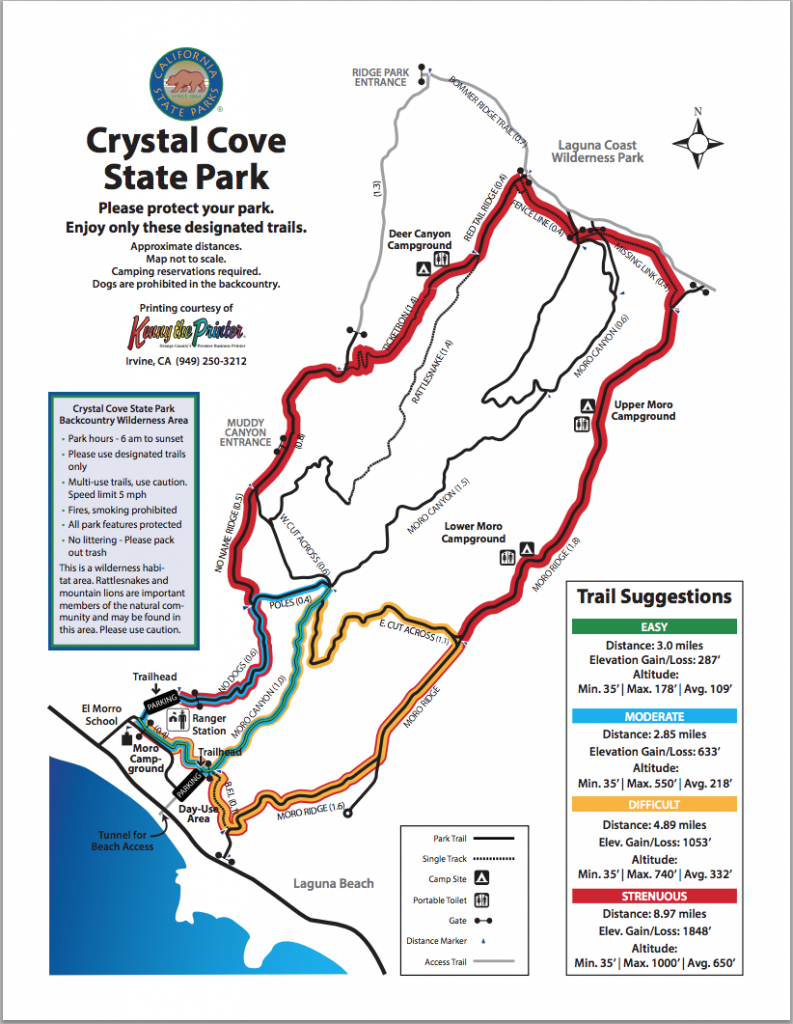 Map Of Hiking Trails | Crystal Cove regarding Crystal Cove State Park Map