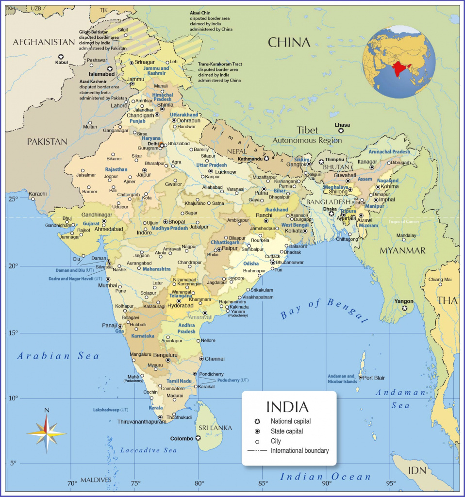 Map Of India - Nations Online Project for Map Of India With States And Cities