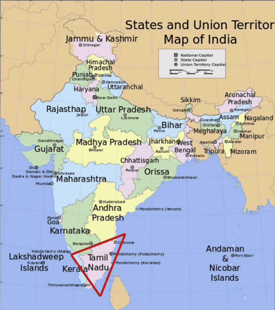 Map Of India Showing The Sampling Point, Tamilnadu State, South in Google Map Of India With States