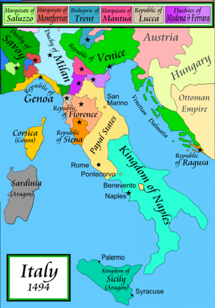 Map Of Italian City-States. The Renaissance Really Gets Going In The throughout Italian States Map