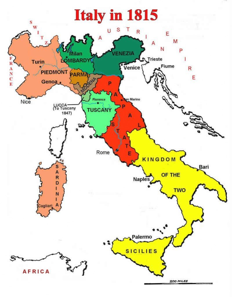 Map Of Italian States In 1815 | Географические Карты | Pinterest With Regard To Italian States Map