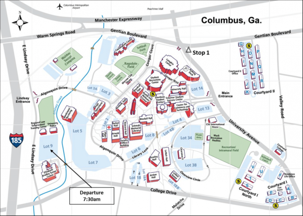 Map Of Main Columbus State University Main Campus. The Field Trip regarding Columbus State Campus Map