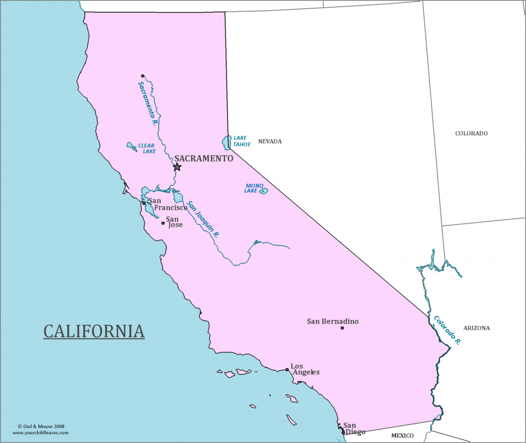 Map Of Major California California State Map California Map Major intended for California State Map By City