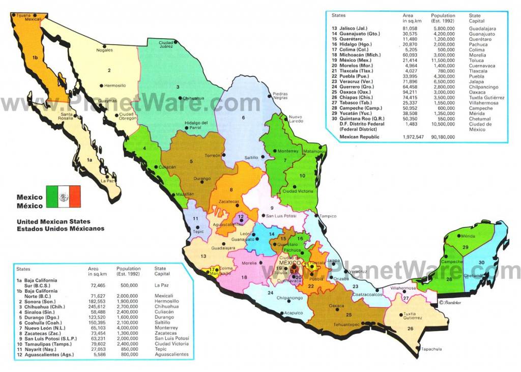 Map Of Mexico- Mexican States   Planetware pertaining to Map Of Mexico And Its States