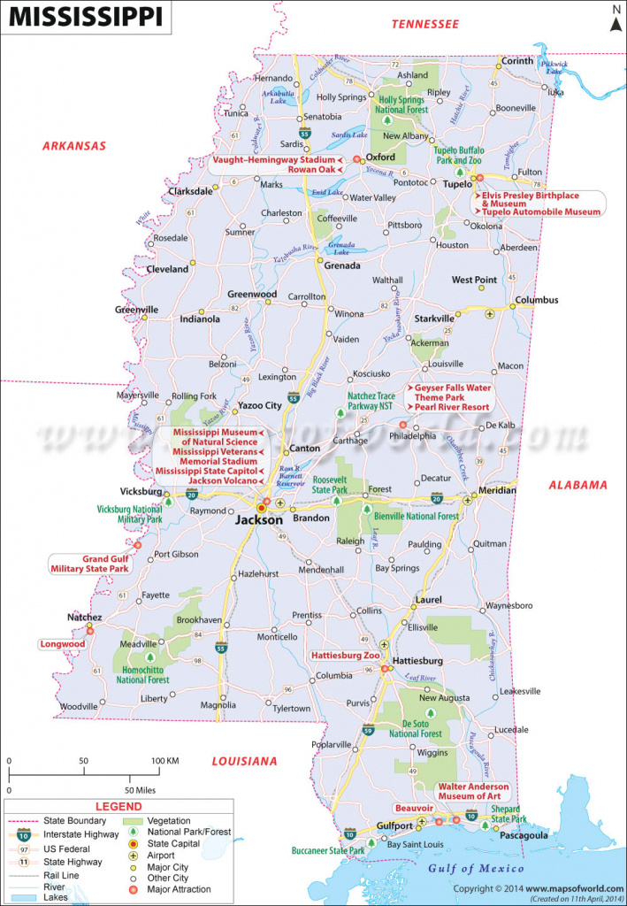 Map Of Mississippi, Mississippi Map (Ms) with regard to Mississippi State Parks Map