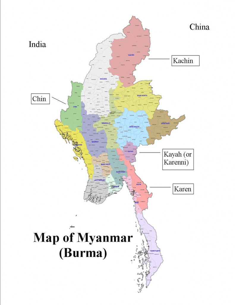 Map Of Myanmar States And Travel Information | Download Free Map Of within Map Of Myanmar States And Regions