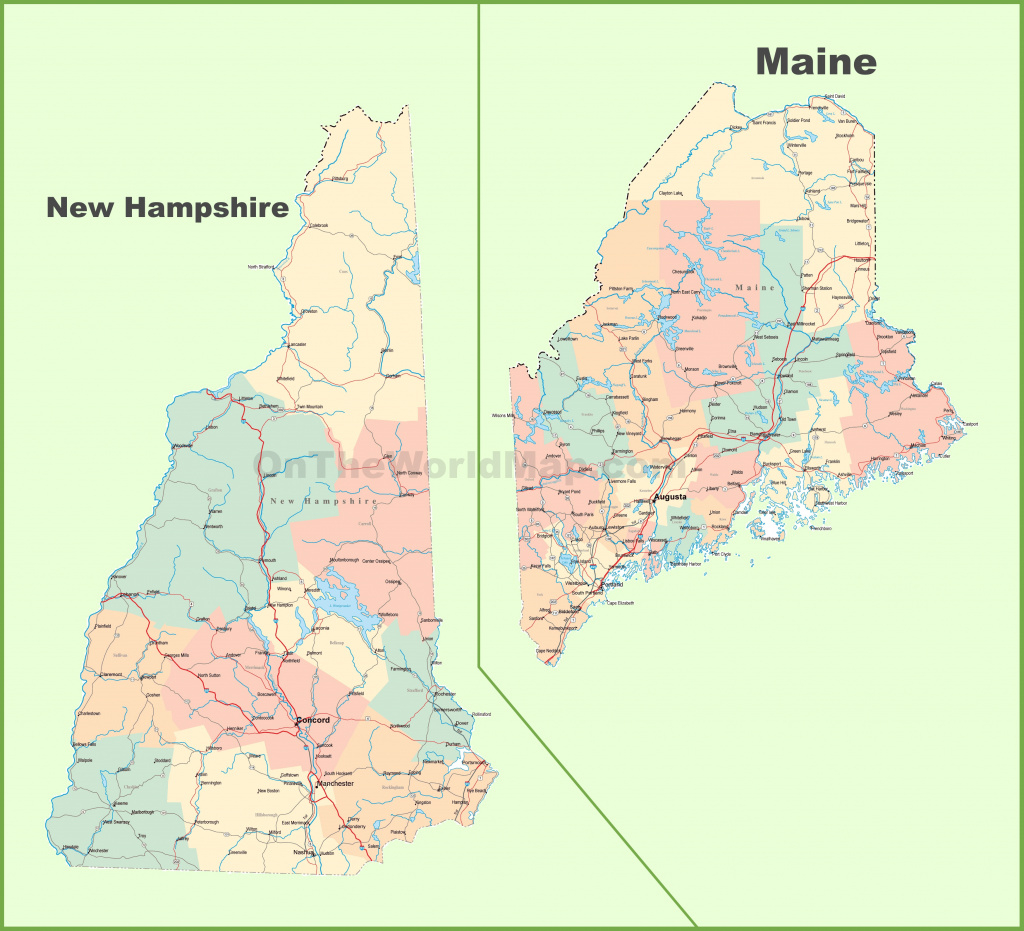 Map Of New Hampshire And Maine for Maine State Map Printable