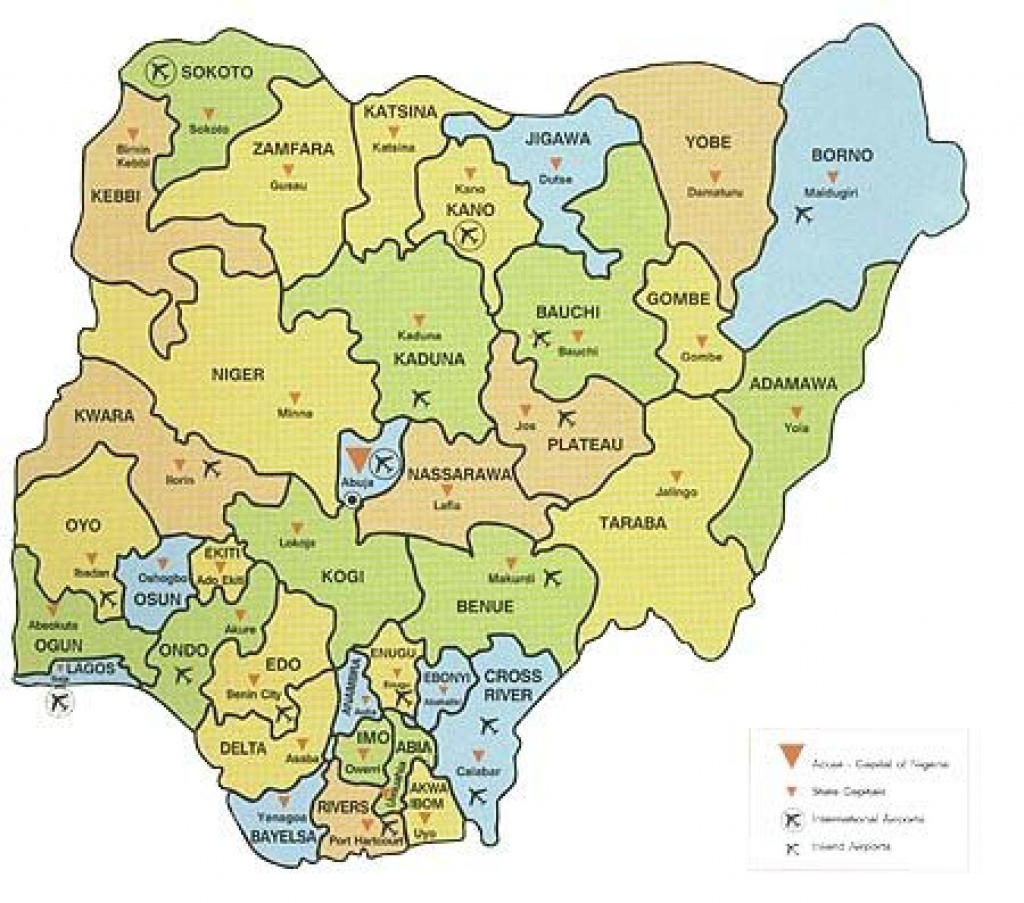 Map Of Nigeria Showing 36 States And Capital - Google Search | Maps throughout Map Of Nigeria With States