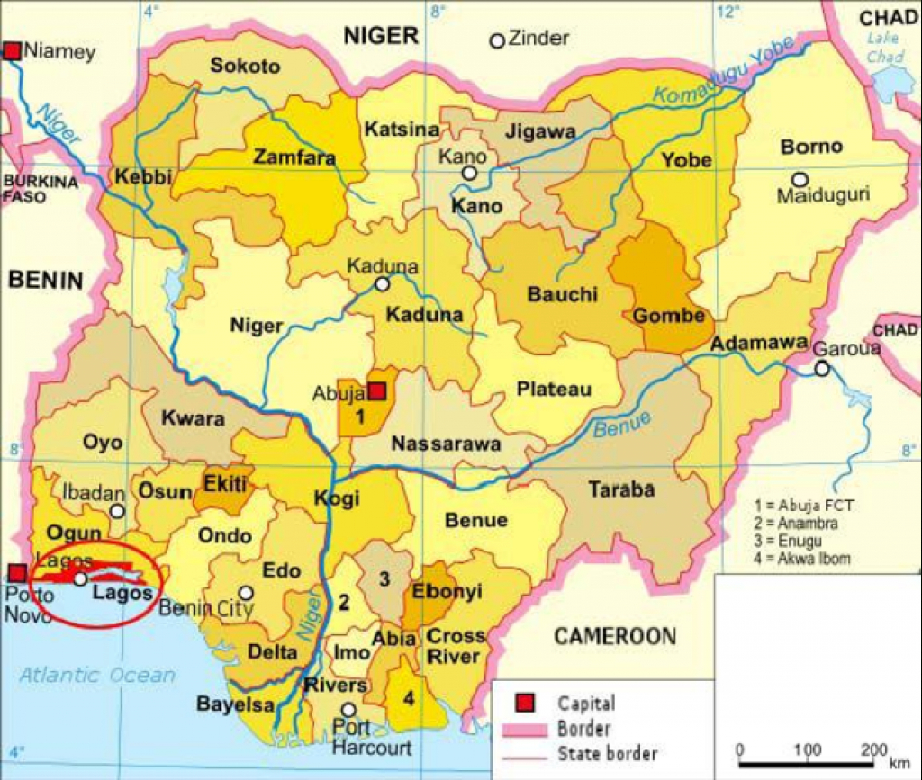 Map Of Nigeria Showing The 36 States And The Federal Capital with regard to Uno State Of Cameroon Map