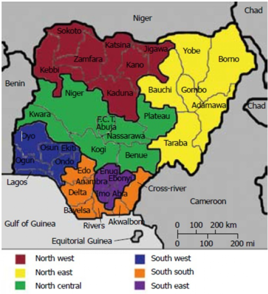 Map Of Nigeria Showing The 6 Geo-Political Zones, 36 St | Open-I pertaining to Map Of Nigeria With States
