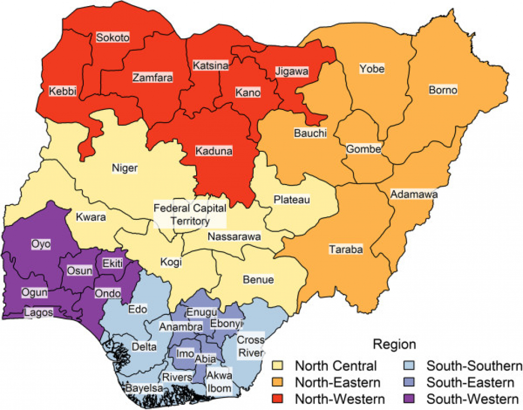 Map Of Nigerian States. Color Signifies Geopolitical Region inside Map Of Nigeria With States