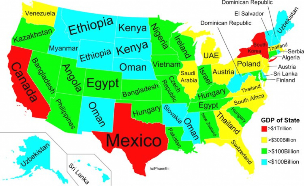 Map Of Of Us States Gdp And Other Countries - Business Insider throughout Map Of The World With Us States