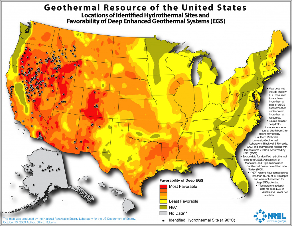 Map Of Potential Geothermal Resources Across The United States with regard to United States Resource Map