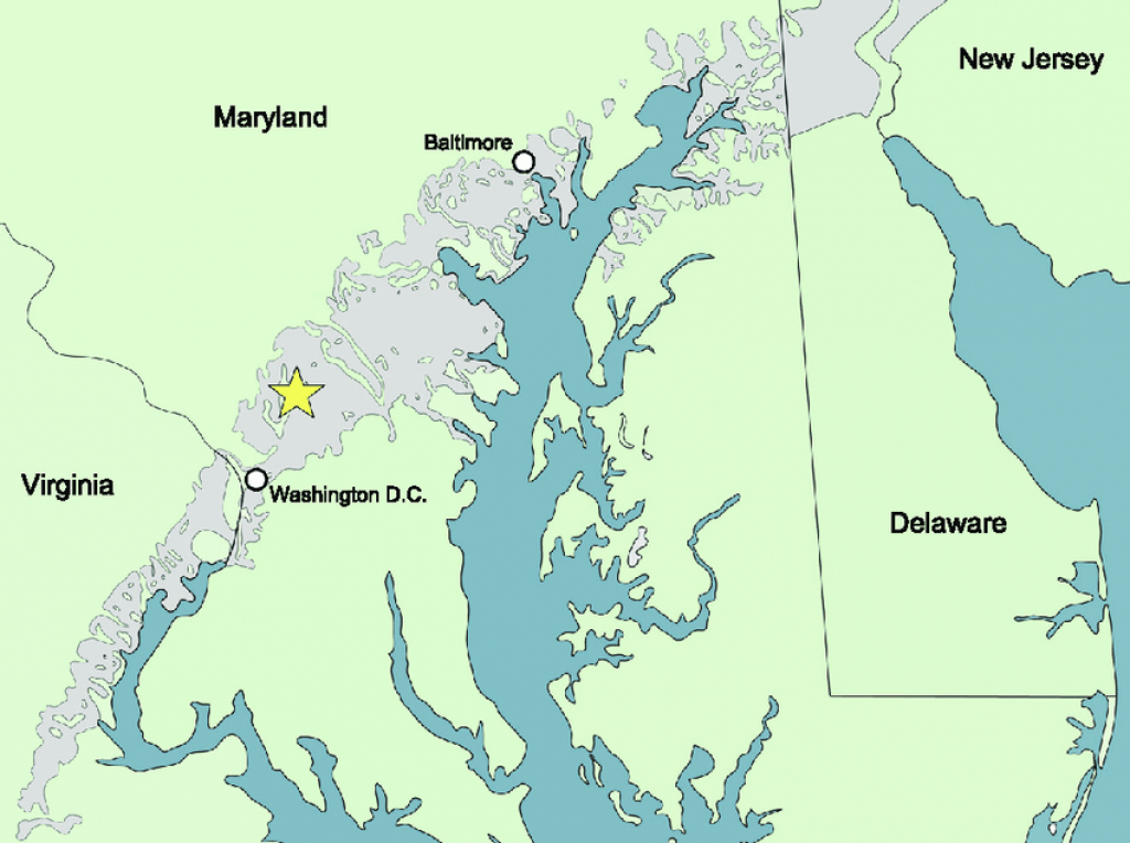 Map Of Potomac Formation Outcrop Belt In Maryland And Surrounding intended for Map Of Maryland And Surrounding States
