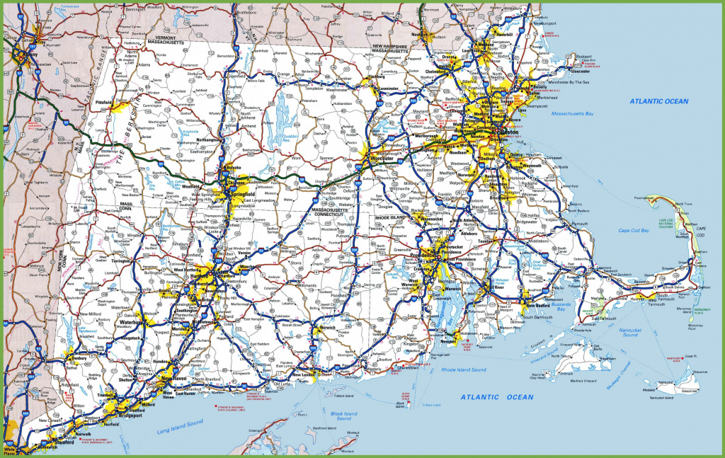 Map Of Rhode Island, Massachusetts And Connecticut inside Map Of Rhode Island And Surrounding States