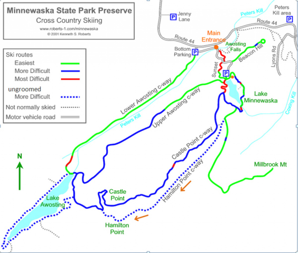 Map Of Ski Routes At Minnewaska State Park Preserve regarding Minnewaska State Park Trail Map