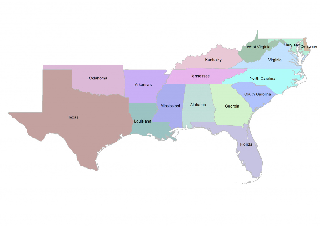 Map Of South Us Region And Travel Information | Download Free Map Of regarding Map Of The Southeast Region Of The United States