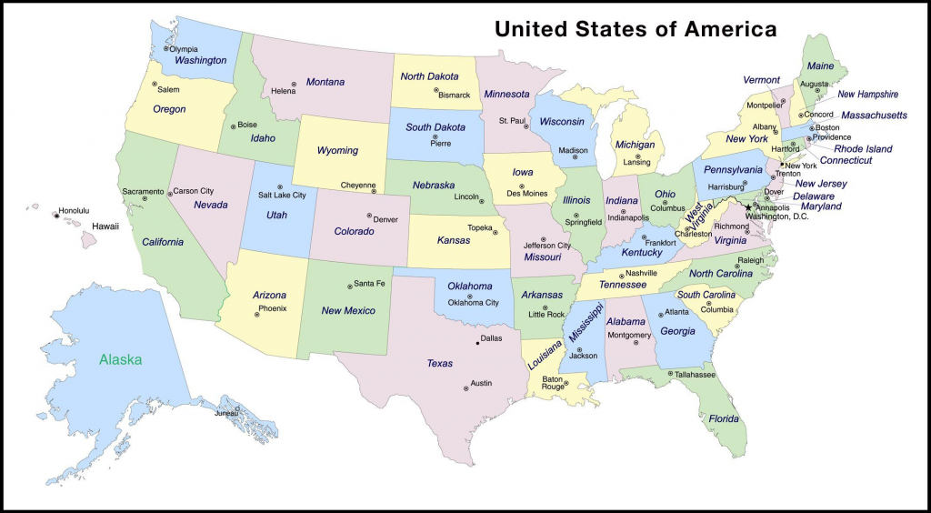 Map Of States In Us With Capitals - Marinatower within Us Map With States Labeled And Capitals