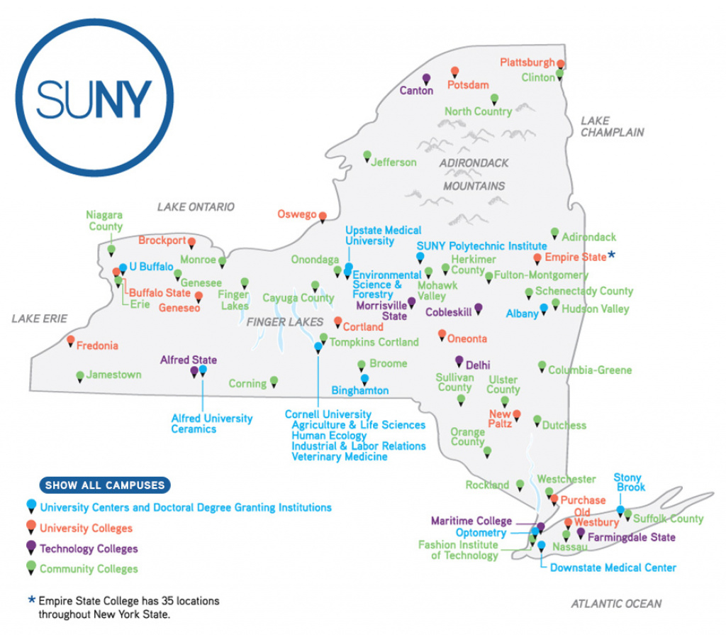 Map Of Suny Institutions - Suny inside State University Of New York Map