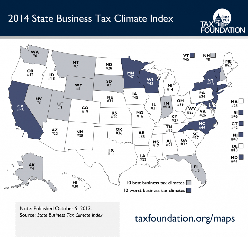 Map Of The 2014 State Business Tax Climate Index - Tax Foundation in Tax Friendly States Map