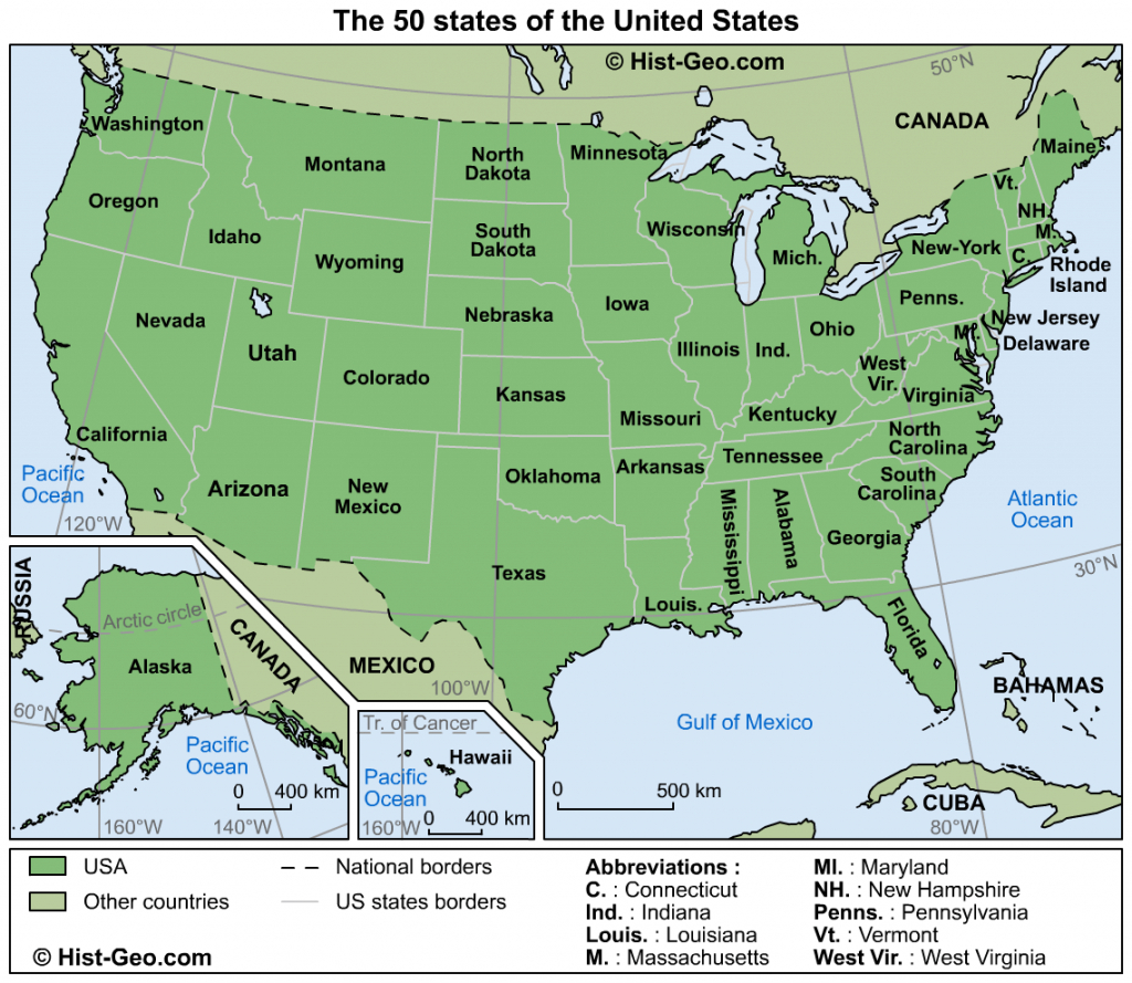 Map Of The 50 States Of The United States (Usa) in Us Map All 50 States