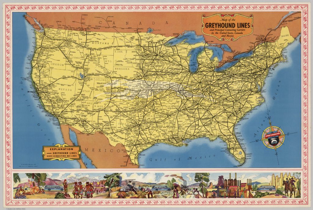 Map Of The Greyhound Lines In The United States, Canada And Mexico in Mexico And The United States Map