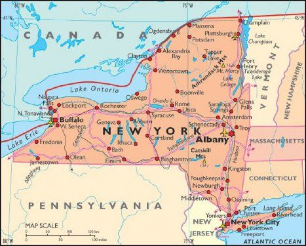 Map Of The State Of New York | Boarding Pass To United States-Mid intended for Road Map Of New York State And Pennsylvania