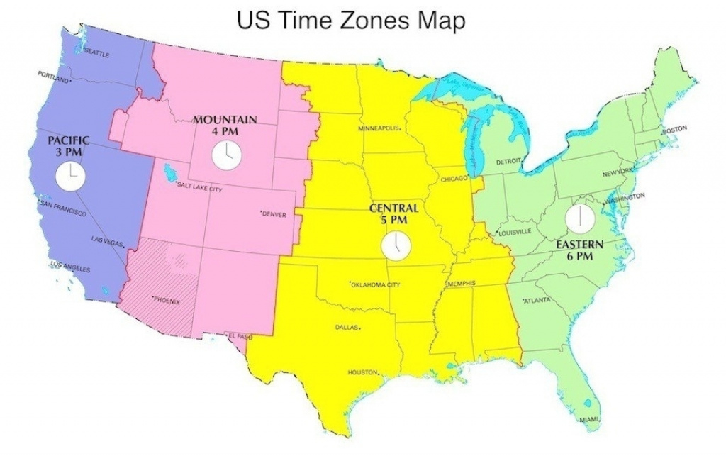 Map Of The Time Zones In The United States Free Time Zone Map For within Map Of Time Zones In United States