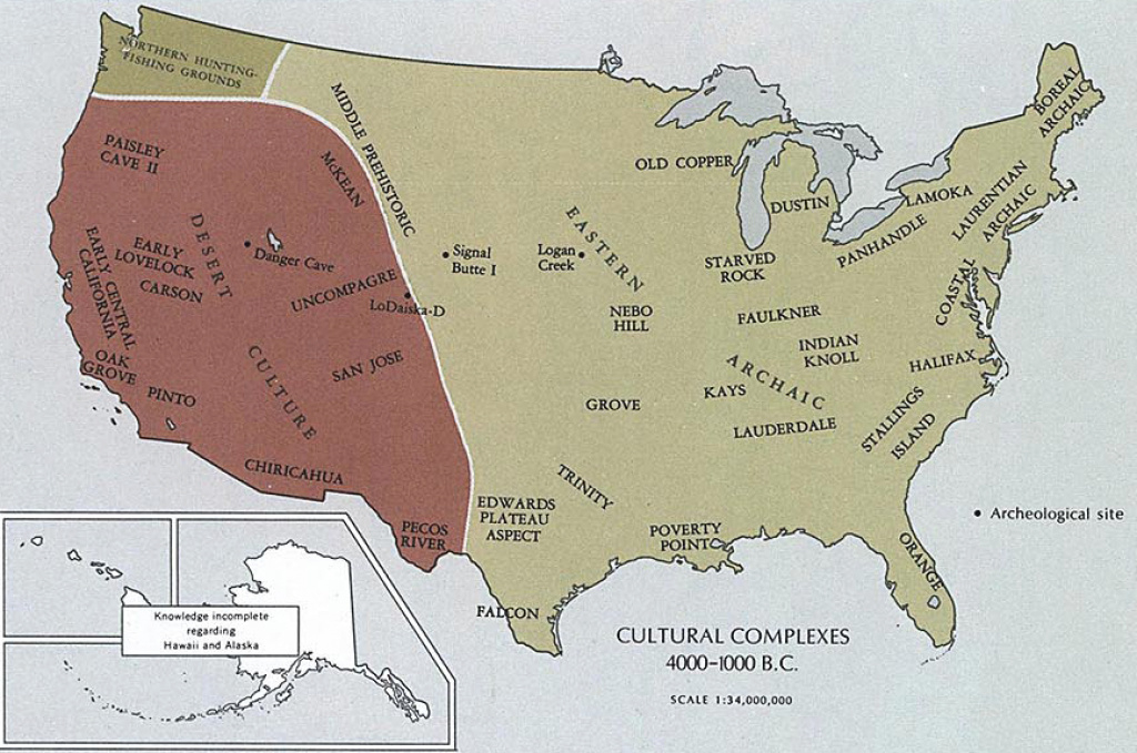 Map Of The United States 4000-1000 B.c. intended for 1700 Map Of The United States