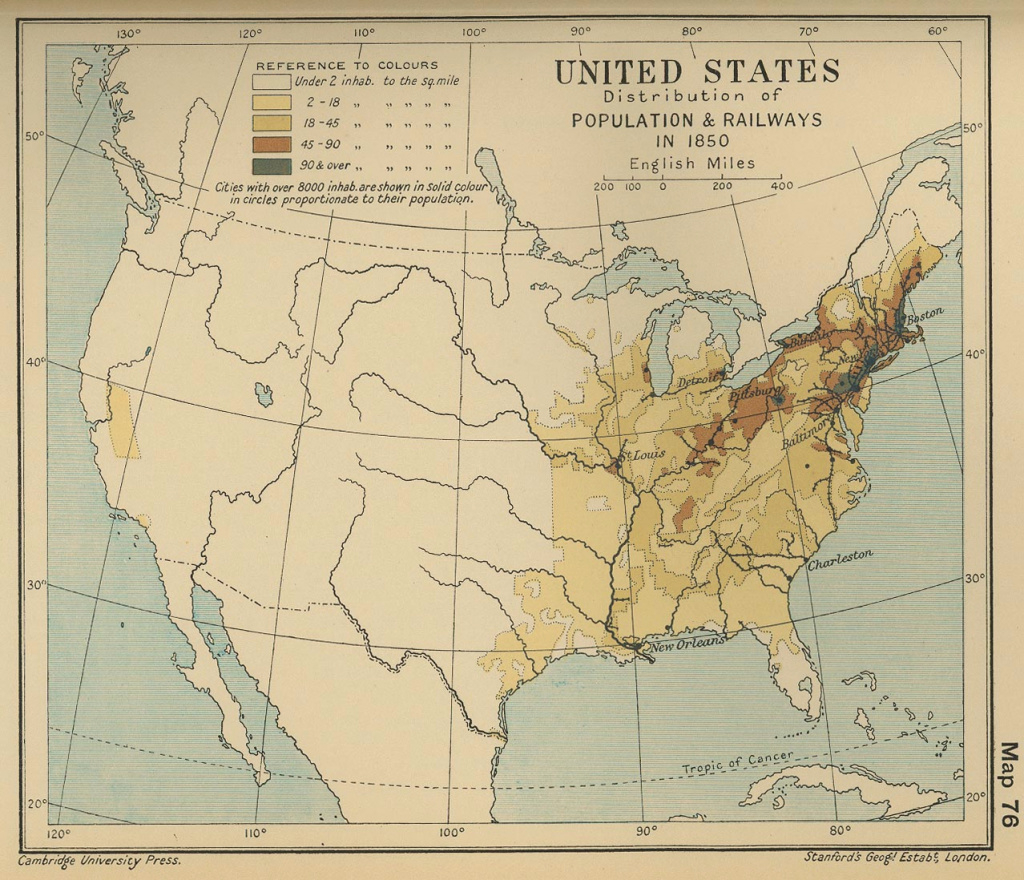 Map Of The United States Population 1850 throughout 1700 Map Of The United States