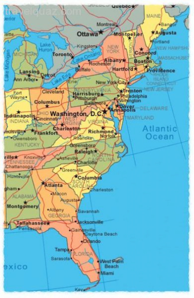 Map Of United States East Coast - Free World Maps Collection with East Coast States Map