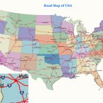 Map Of United States Inside Road Map Of The United States With Major Cities