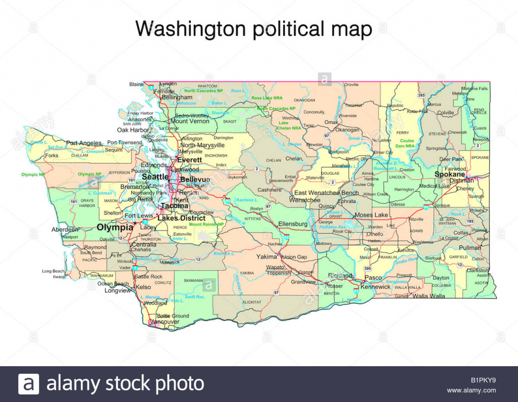 Map Of Washington State Stock Photos & Map Of Washington State Stock regarding State Political Map
