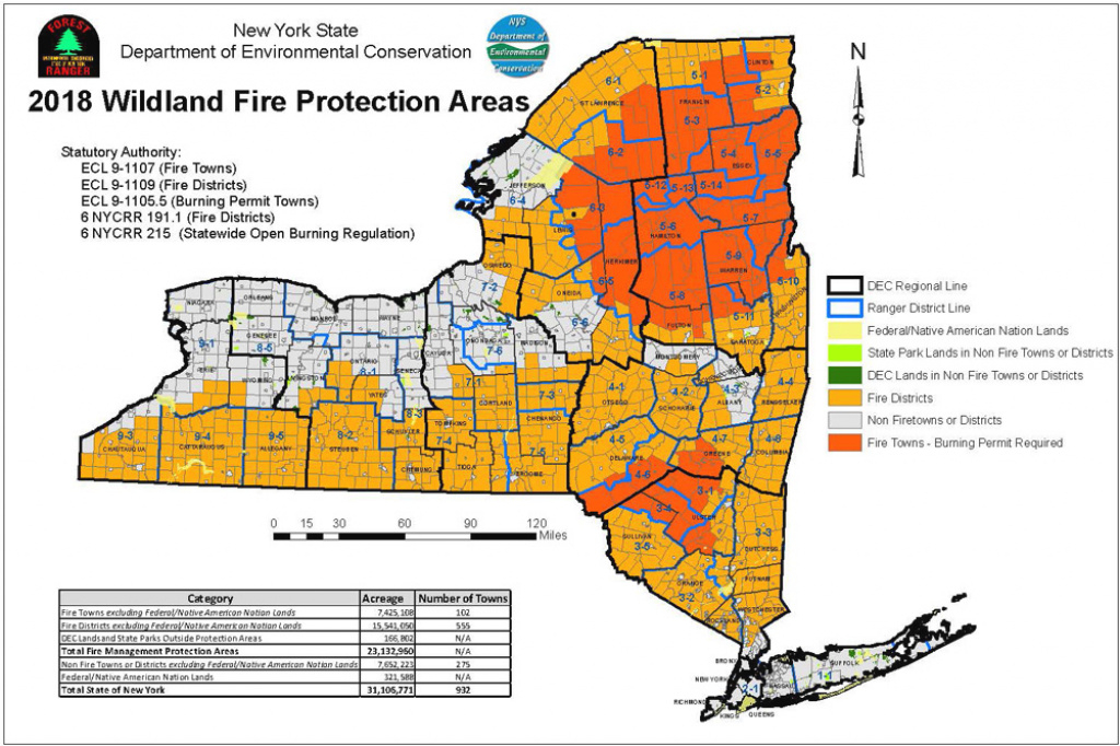 Map Of Wildland Fire Protection Areas - Nys Dept. Of Environmental with regard to New York State Fire District Map