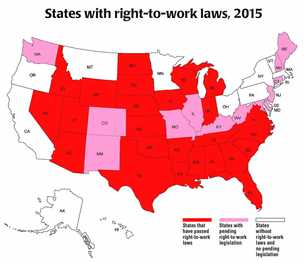 Map: Right To Work States In The U.s. | Nassau Pba in Map Of Right To Work States