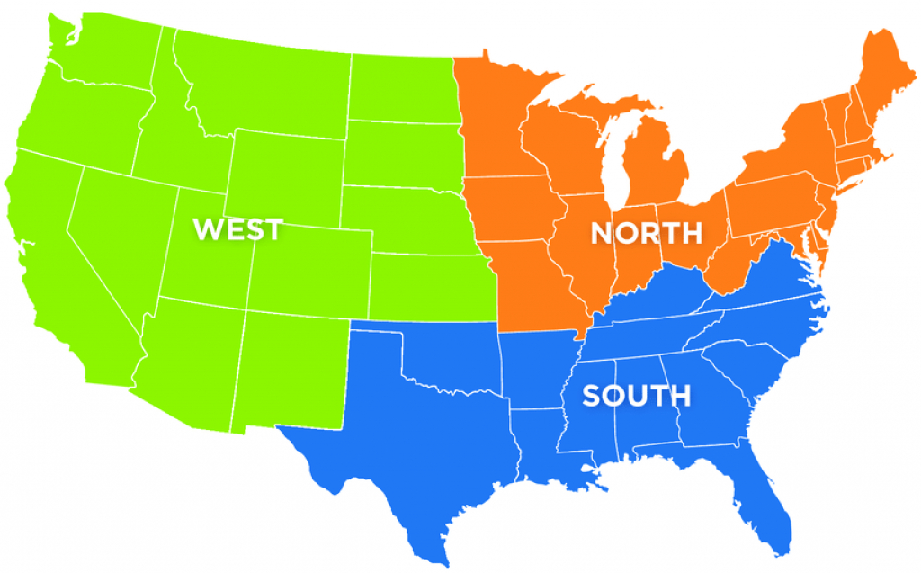 Map Showing States In The Northern, Southern, And Western Regions Of pertaining to Northern States Map