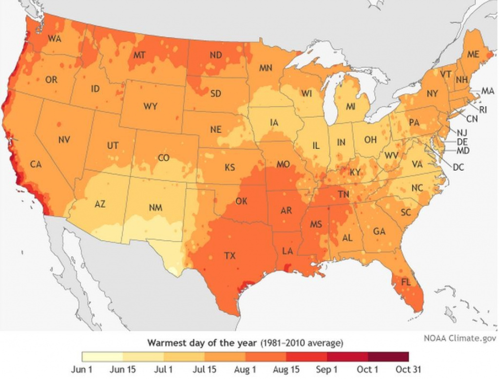Map Shows The Average Hottest Day Of The Year Across The United throughout Weather Heat Map United States