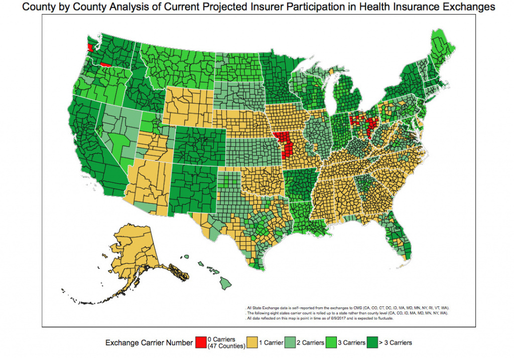Map Shows Where People Could See Zero, Few Obamacare Insurers In 2018 regarding States With Exchanges Map