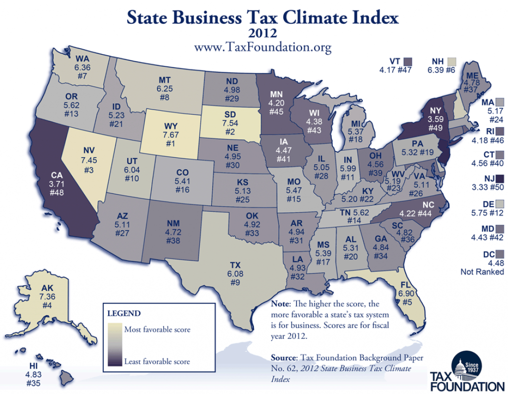 Map: State Business Tax Climate Index, 2012 - Tax Foundation intended for Us State Tax Map