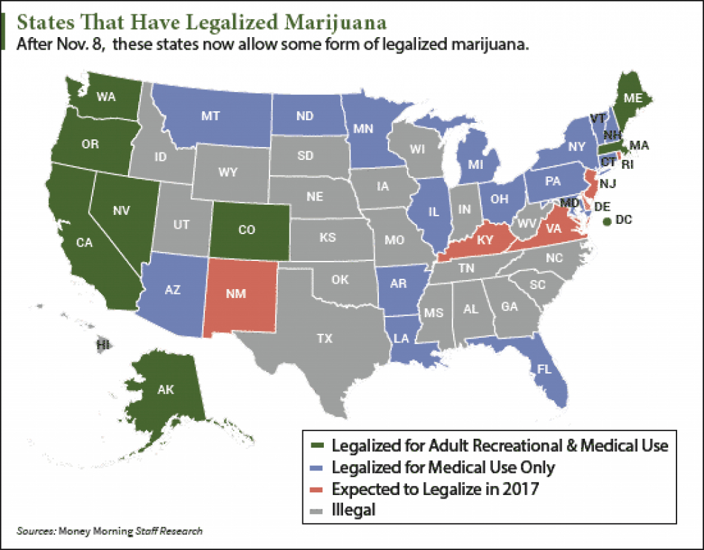 Map] States Legalizing Marijuana In 2017 in Legal Marijuana States Map 2017