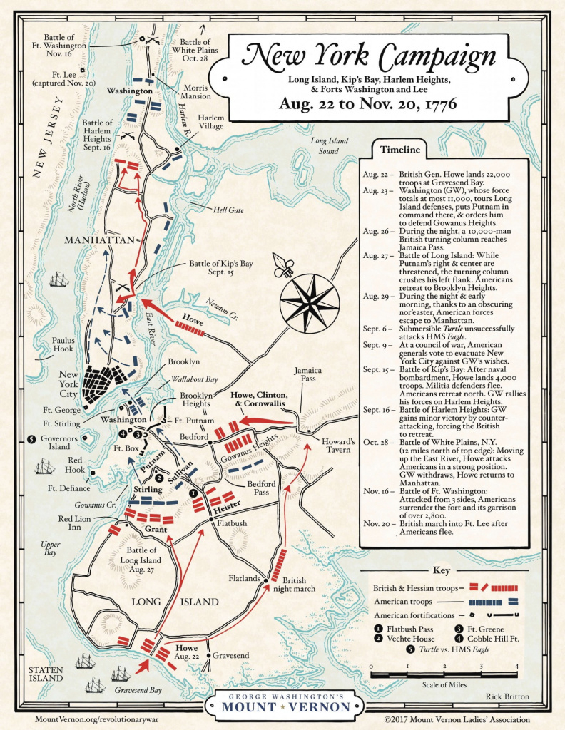 Map: The 1776 New York Campaign · George Washington's Mount Vernon for New York State Revolutionary War Map