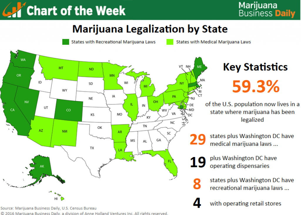 Map: The Post-Election U.s. Marijuana Landscape - Marijuana Business pertaining to States Where Weed Is Legal Map