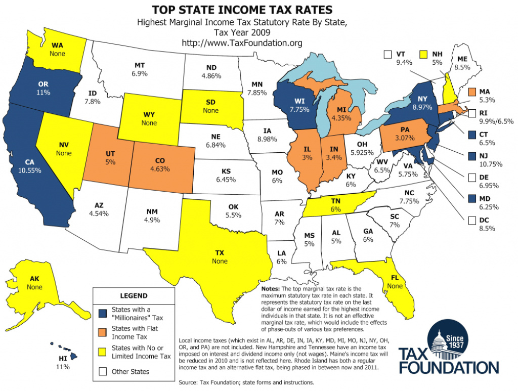Map: Top State Income Tax Rates - Tax Foundation with regard to Tax Rates By State Map