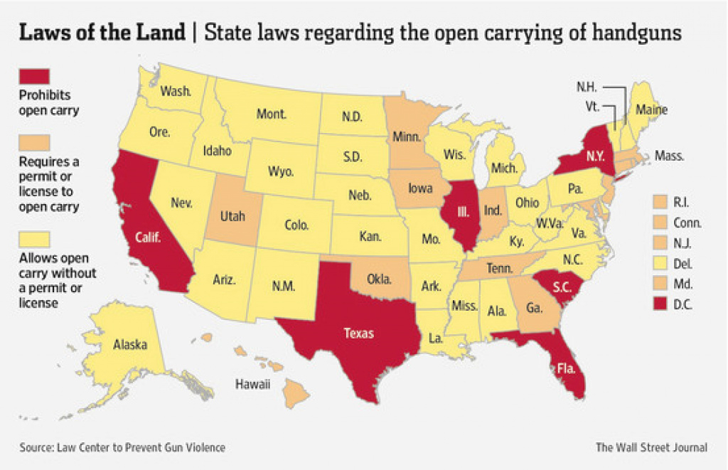 Map: Where Is 'open Carry' Legal? - The Numbers - Wsj inside Open Carry States Map 2017