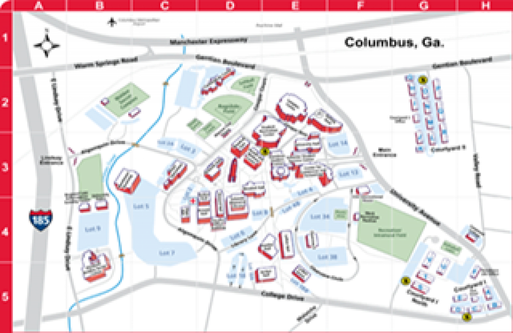 Maps - Columbus State University - Columbus, Georgia intended for Columbus State Campus Map