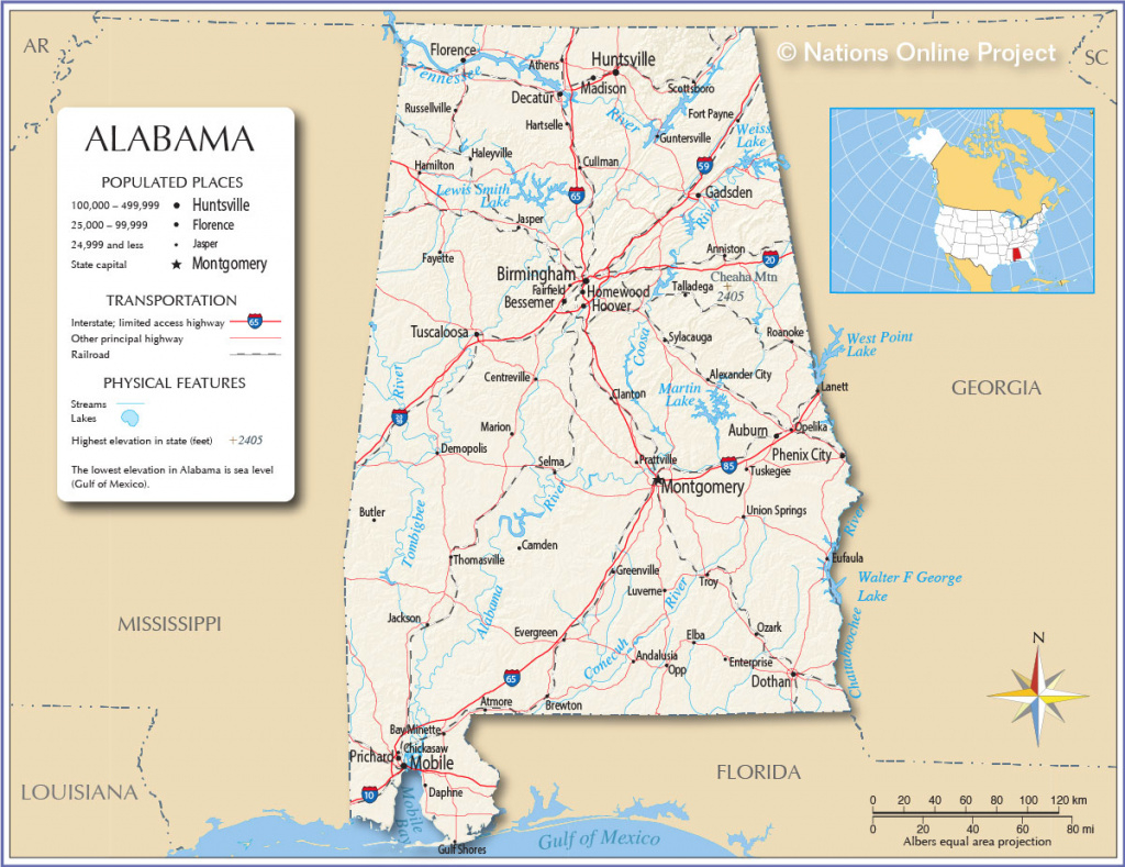 Maps Of Alabama State, Usa - Nations Online Project within Alabama State Map Printable